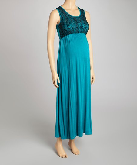 Teal & Black Lace Maternity Maxi Dress