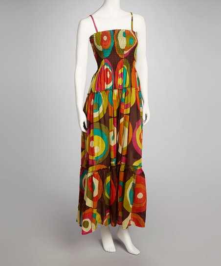 Yellow & Brown Circle Dress