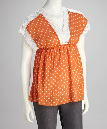 Orange Polka Dot Lace Top