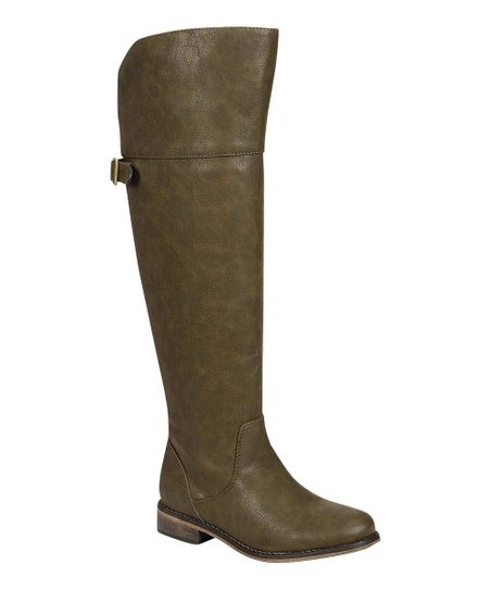 Military Green Rider Over-the-Knee Boot