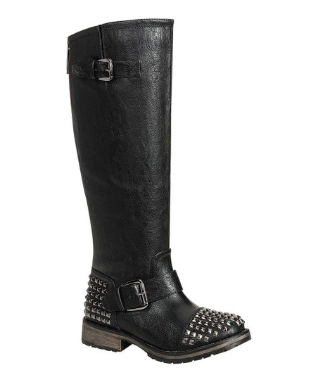 Black Studded Trooper Boot