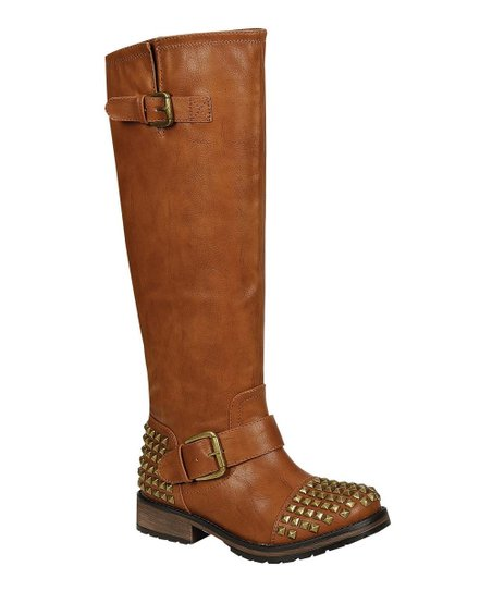 Tan Studded Trooper Boot