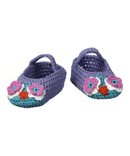 Purple & Turquoise Crocheted Bootie