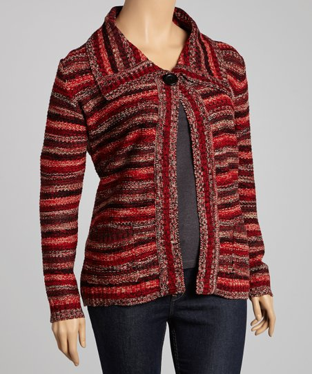 Red Rainbow Stripe Cardigan - Plus