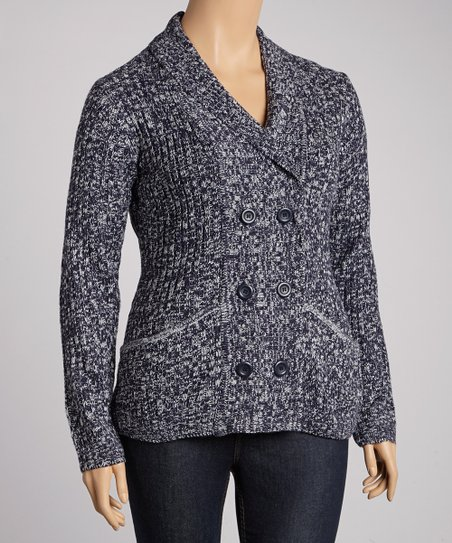 Navy Double-Breasted Cardigan - Plus