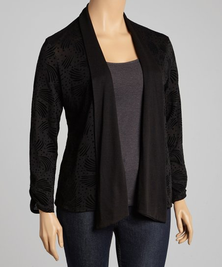 Black Abstract Open Cardigan - Plus