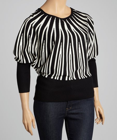 Black & Ivory Stripe Dolman Sweater - Plus