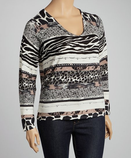Black & Beige Safari Stripe V-Neck Sweater - Plus