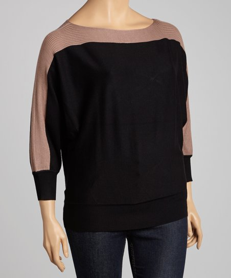 Taupe & Black Color Block Dolman Sweater - Plus
