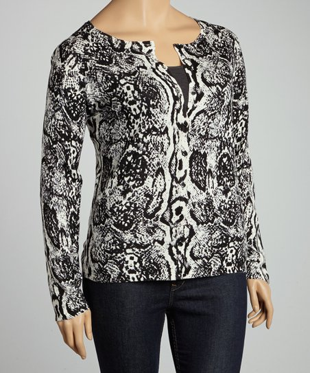 Black & White Snakeskin Cardigan - Plus