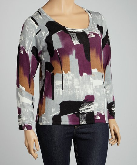 Aubergine & Gray Paint Stroke Sweater - Plus
