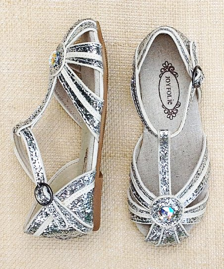 White & Silver Hazel Closed-Toe Sandal
