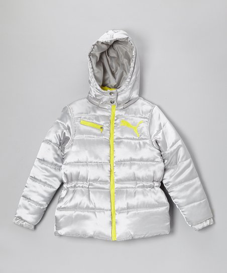 Metallic Silver Hooded Puffer Jacket - Girls