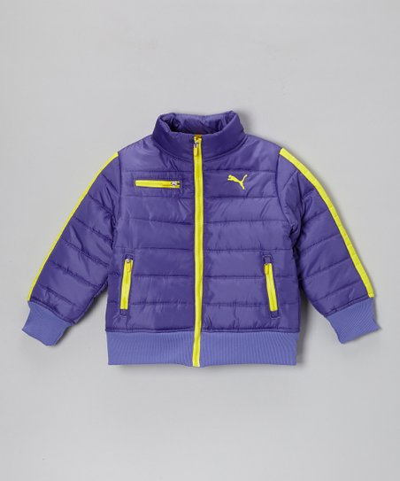 Simply Purple Zip-Up Puffer Jacket - Girls