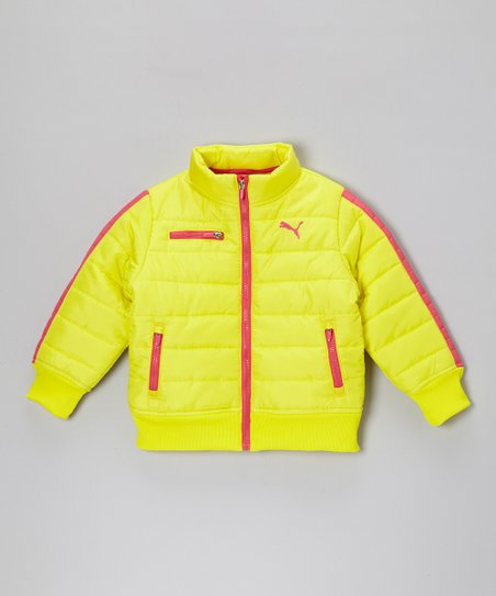 Yellow Zip-Up Puffer Jacket - Girls