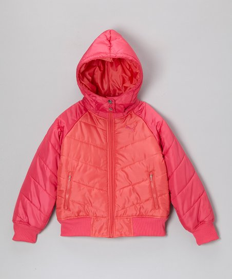Pink Icon Color Block Hooded Puffer Jacket - Toddler & Girls