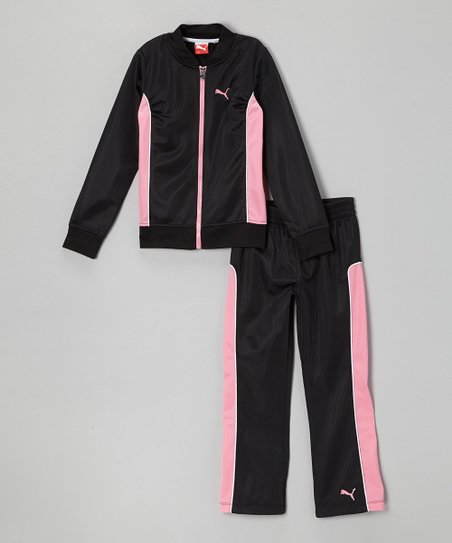 Black Zip-Up Jacket & Track Pants - Infant, Toddler & Girls