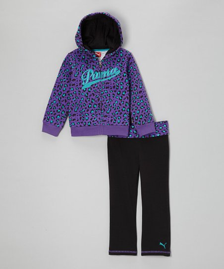 Purple Leopard Zip-Up Hoodie & Pants - Infant, Toddler & Girls