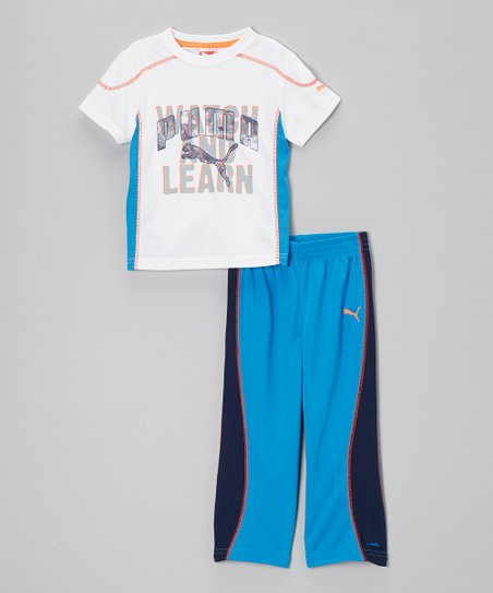 White 'Watch and Learn' Tee & Blue Pants - Infant & Toddler
