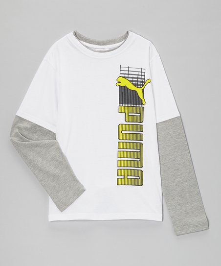 White & Gray 'PUMA' Layered Tee - Toddler & Boys