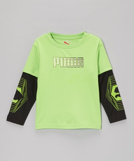 Jasmine Green Linear 'PUMA' Layered Tee - Boys