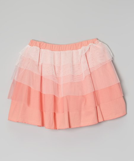 Coral Asymmetrical Ruffle Skirt - Girls