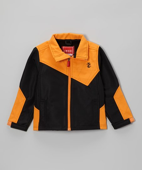 Black & Orange Soft-Shell Block Jacket - Toddler & Boys