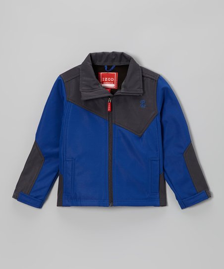 Dark Gray & Blue Soft-Shell Block Jacket - Toddler & Boys