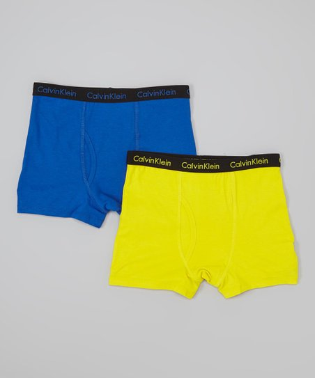 Yellow & Blue Boxer Briefs Set - Boys