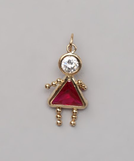Light Red July Birthstone Girl Pendant