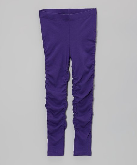 Plum Ruched Leggings - Toddler & Girls