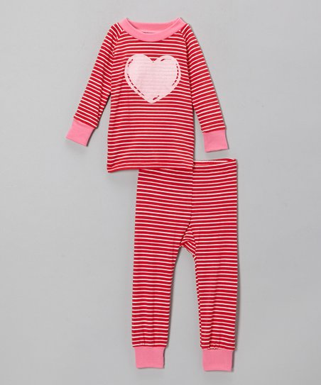 Red Stripe Heart Pajama Set - Infant & Toddler