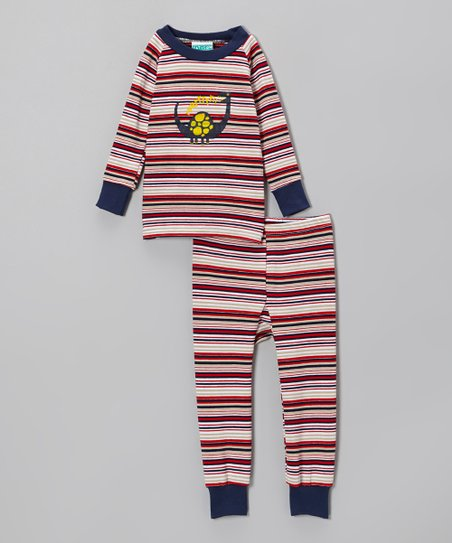 Red Stripe Dinosaur Pajama Set - Infant & Toddler
