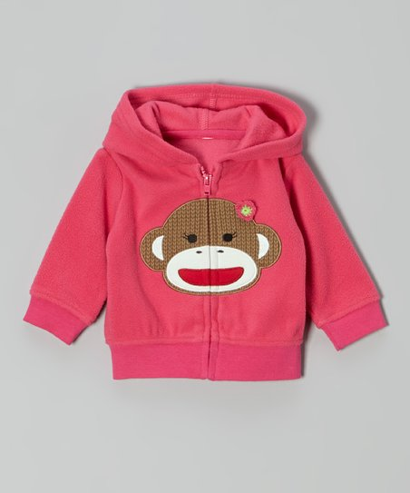 Pink Monkey Zip-Up Hoodie - Infant