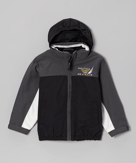 Deep Black & Gray Hooded Jacket - Toddler & Boys
