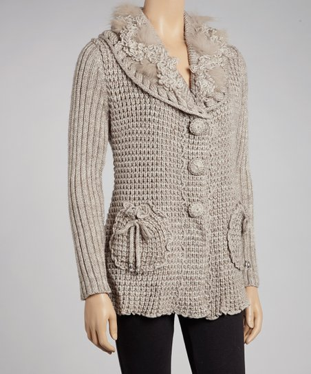 Oatmeal Faux Fur Wool-Blend Button-Up Cardigan