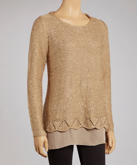 Light Brown Sequin Wool-Blend Scoop Neck Sweater