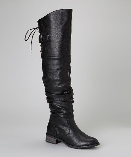 Black Lace-Up Olympia Boot
