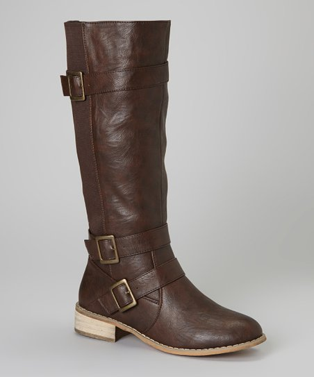 Brown Buckle Olympia Boot