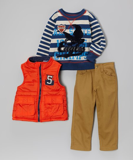 Orange Puffy Vest Set - Boys