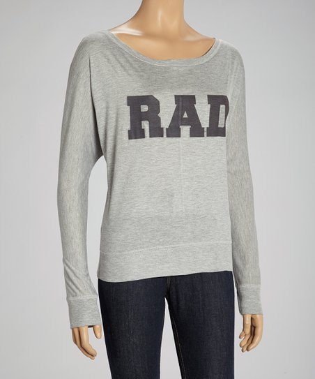 Gray 'Rad' Long-Sleeve Dolman Top