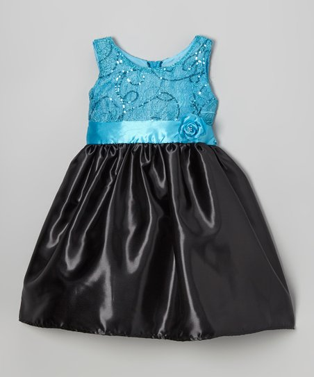 Turquoise & Black Shimmer Swirl Dress - Toddler & Girls