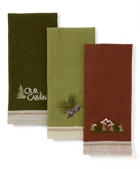 Pine Peak Lodge Embroidered Dish Towel - Set of Three
