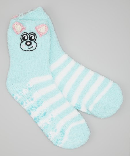 Light Blue & White Stripe Dog Socks