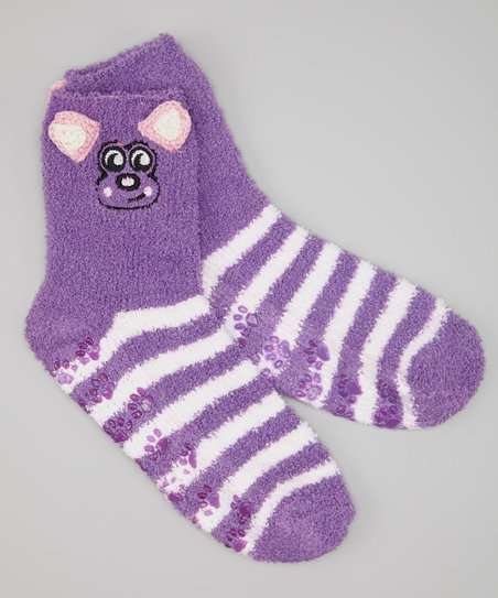 Purple & White Stripe Dog Socks
