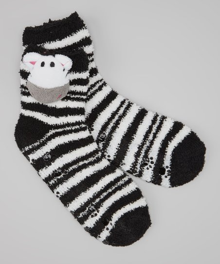 Black & White Stripe Zebra Socks