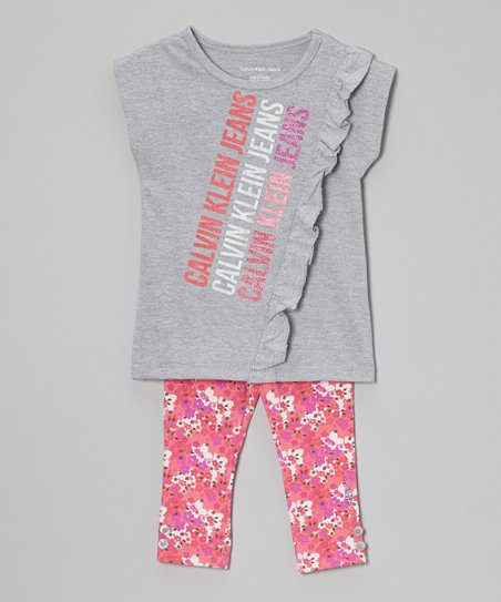 Gray Logo Tunic & Floral Leggings - Infant, Toddler & Girls