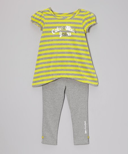 Yellow Stripe Sidetail Tunic & Leggings - Infant, Toddler & Girls