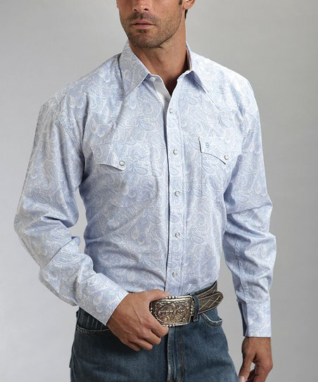Blue & White Paisley Western Button-Up - Men