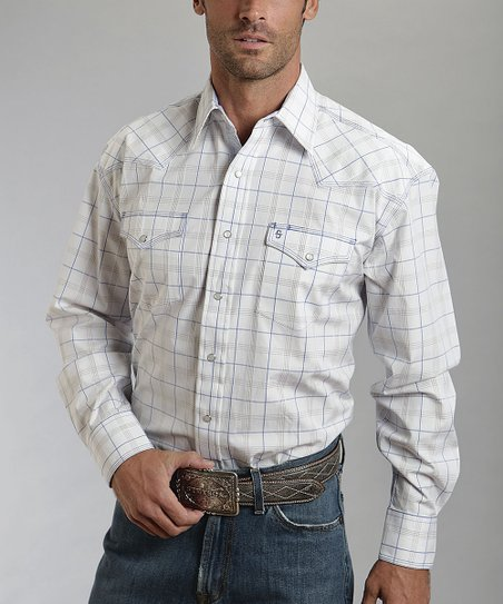 White Windowpane Plaid Western Button-Up - Men